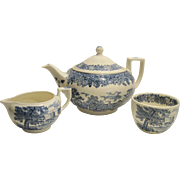 Teapot Cream/Sugar Wedgwood Queen's Ware