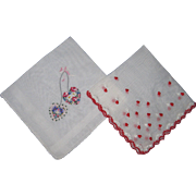 Pair of Valentine Handkerchiefs