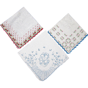 Trio of Embroidered Handkerchiefs