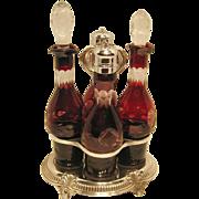 Cranberry Cruet Set