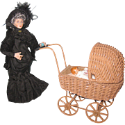 Miniature Wicker Doll Carriage