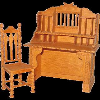 Miniature Tramp Art Secretary and Chair