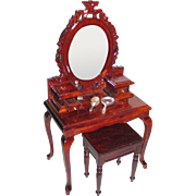 Miniature Hand Crafted Vanity and Stool