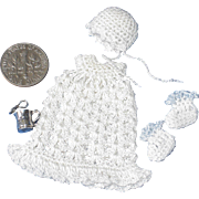 Miniature Sterling Baby Cup, Spoon, & Outfit