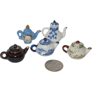 Five Tiny Teapots For Dollhouse