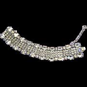 Wide Crystal Clear Rhinestone Bracelet
