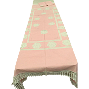 Tablecloth Napkins Pink with White Battenberg never used