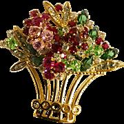 Flower Basket Rhinestone Pin/Brooch
