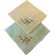 Pair of Embroidered Handkerchiefs