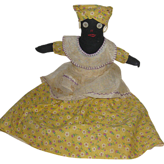 Seated Black Rag Doll