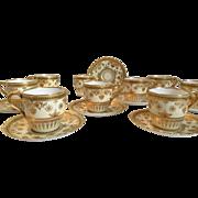 Copeland Jewelled Porcelain 9 Demitasse Cups/Saucers Spaulding Co