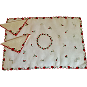 Marghab Strwberry Tray Cover/Napkins Breakfast Set