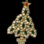 Vintage Rhinestone Christmas Tree Pin/Brooch