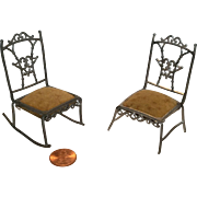 Miniature German Soft Metal Chairs for Vintage Dollhouse