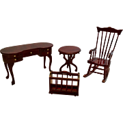 Miniature Dollhouse Furniture Rocking Chair, Desk, Table, Magazine Rack
