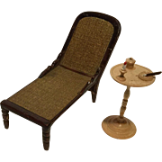 Miniature Dollhouse Deck Chair/Chaise Lounge and Smoking Stand