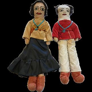 Pair of Navajo Hand Made Cloth Rag Dolls