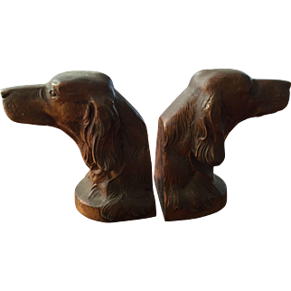 Pair of Bronzed Cast Metal Irish Setter Bookend PMC 1940s