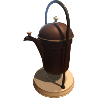 Rare Copper Swing Coffee Pot on Ironstone Base Great Condition and Great Design