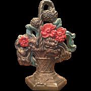 Vintage Cast Iron Flower Basket Doorstop Red Flowers Hubley