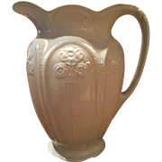 Meakin White Ironstone Pitcher Embossed Flowers Art Nouveau