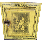 Antique Yellow Schepps Cake Box Tin Lithograph Goethe Lotte Dorothea Inside Door Advertising, Shelf, Latch