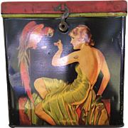 Say Ivins Art Deco Biscuit Tin Elegant Lady/ Pin Up Girl Feeding Parrot