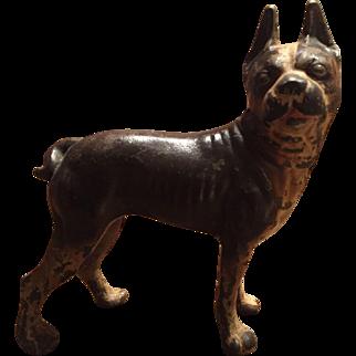 Hubley Cast Iron Bull Dog Doorstop / Door Stop Brown White Smaller Size