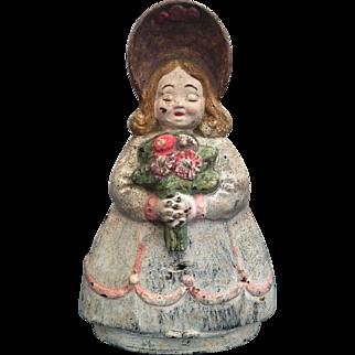 HTF Victorian Garden Flower Girl Cast Iron Doorstop Albany Foundry #76