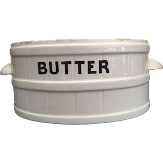 English Ironstone Oval BUTTER TUB Store Display Early 1900s