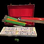 Vintage Crisloid Mah Jong Mah Jongg Set 152 Tiles 5 Racks Red Case Green Dice