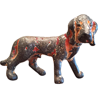 Vintage Metal Cast Iron Hubley Bloodhound Hound Dog Party Favor Figurine