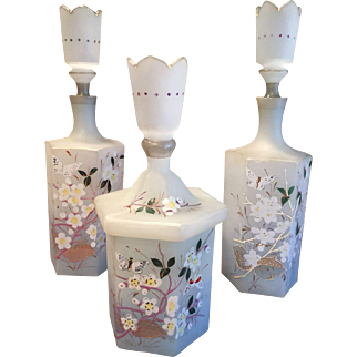 Pair Victorian Bristol Glass Perfume Barber Cologne Bottles & Powder Jar Hand Painted Flowers & Butterfly