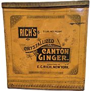 Large Vintage Rich's Crystallized Canton Ginger Tin General Store Canister 5 Lbs