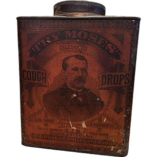 Vintage Try Moses Cough Drop Tin 5 pounds C1879 E.J. Hoadley Hartford Ct.