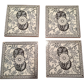 (4) Minton Stoke on Trent Aesthetic Tiles Dragon Black & White 1880s