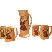 Roseville Creamware Fraternal Elk Tankard & Four Footed Mugs 1913-19 Lodge Line