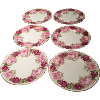 Six (6) D & Co. 19th Century France Limoges Plates Pink & Red Roses Bernardaud & Co.