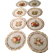 Eight (8) Limoges France Hand Painted Artist Signed Plates Fruit