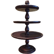 Early Three Tier Wood Server / Cake / Tidbit Lazy Susan Stunning