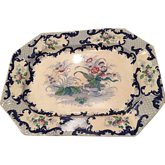 19th C Staffordshire England Polychrome Transferware Platter Gorgeous Flowers