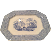 "19th C Staffordshire T. J. Mayer ""Garden Scenery"" Platter Eight Sides"