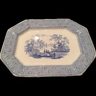 "19th C Staffordshire T. J. Mayer ""Garden Scenery"" Platter Eight Sides"