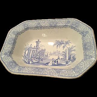 19th Century Staffordshire Blue Transferware Deep Rectanglur Bowl Wm. Adams Isola Bella