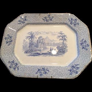 Large Blue Transferware Platter CORINTH J. Edwards Staffordshire England