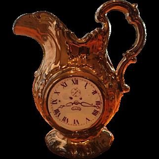 19th Century English Copper Lustre Pitcher Clock Face / Rose
