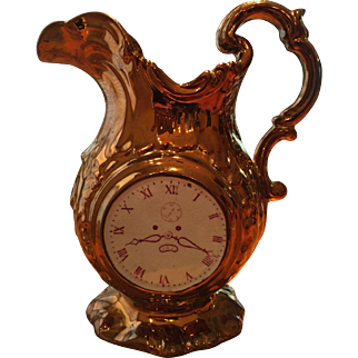 HTF Copper Lustre Pitcher / Jug  Clock Face & Chinoiserie Scene, 19th C England / Wales