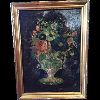 Early Reverse Tinsel / Foil Painting Flowers Urn Hummingbird Lemon Gold Frame