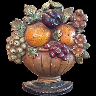 Hubley Cast Iron Fruit Basket / Bowl Doorstop Circa 1930 Original Paint