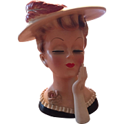 "Lefton 7"" Lady Head Vase #2359 1950'S Red Feather Society Lady Hat Glove Label"